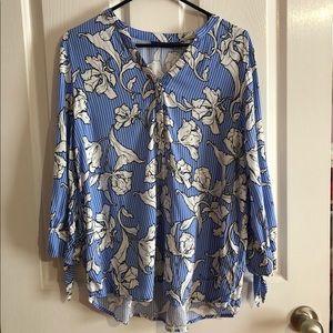 EUC apt 9 Large blouse blue, white, black